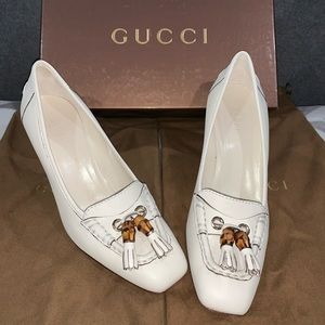 Gucci White Low Heels with Fringe Toe